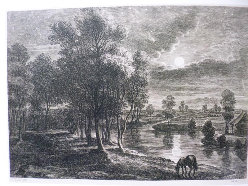 Kupferstich nach Rubens - Landschaft mit weidendem Pferd im Mondschein