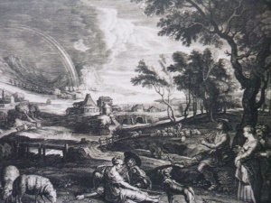 Kupferstich nach Rubens - Landschaft mit Regenbogen